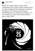 『ダニエル・クレイグが『007』撮影中に転倒し負傷』